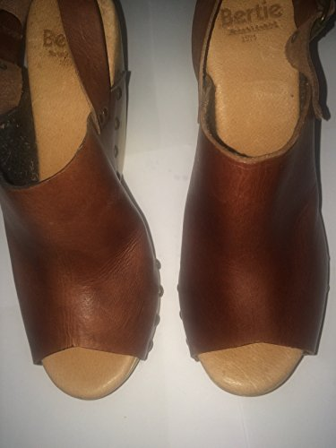 Dune Bertie Dark Brown Leather Peep Toe Wooden Platform Wedge ptqMdTiIlv