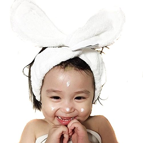 - 2PCS White Multi-function Wired Twist Headband Downy Rabbit Ear Hair Band Sport Headband Accessory for Baby Girl And Women
