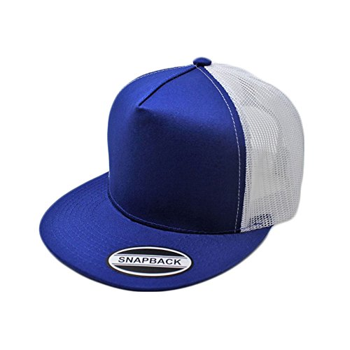 GREAT CAP Blank Trucker Hat - Classic Flat Bill Visor Baseball with Mesh Snapback for Hot Weather, Summer, Outdoor, Running, Car Driving, Vacation, Fishing, Sport, Daily - Blue/White -