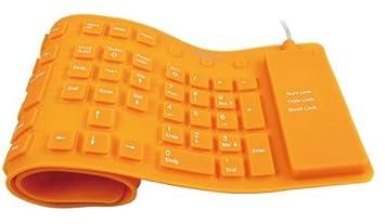 LogiLink ID0038 - Teclado flexible de silicona USB & PS/2, naranja