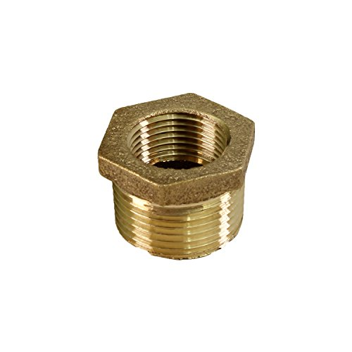 (Everflow BRBU1142-NL 1-1/4 Inch Male NPT X 1 Inch Female NPT Brass Lead Free Bushing, Fitting with Hexagonal Head, Brass Construction, Higher Corrosion Resistance Economical & Easy to Install)