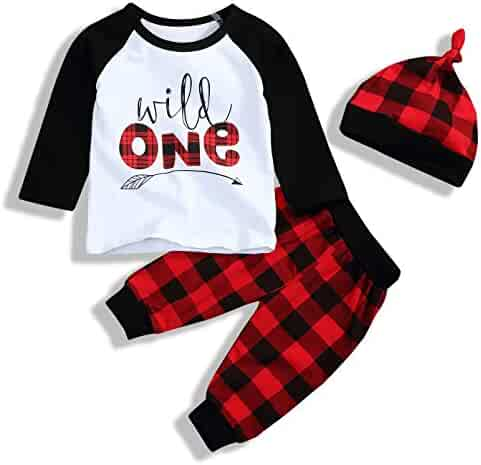 Babys 1st Birthday Outfits T-Shirt with Red Plaid Pant and Hat Costume