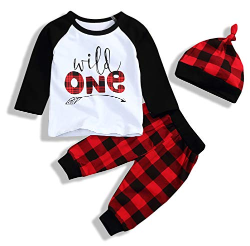 Christmas Babys 1st Birthday Outfits T-Shirt with Red Plaid Pant and Hat (White Red, 12-18 Months)