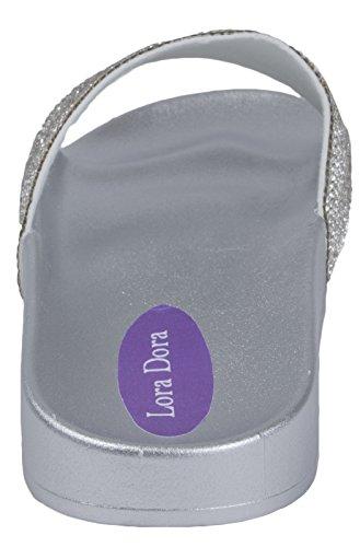 Lora Dora Womens Diamante Sandals Silver/Silver Diamante 87gaZF