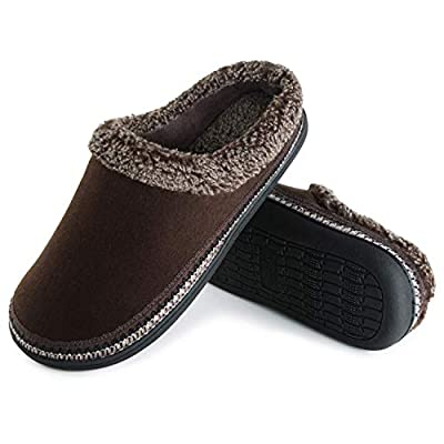 ULTRAIDEAS Men's Cozy Memory Foam Moccasin Suede Slippers with Fuzzy Plush Wool-Like Lining, Slip on Mules Clogs House Shoes