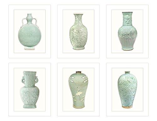 Set of 6 Chinoiserie Antique Celadon Green Porcelain Vase Illustrations Fine Art 8 x 10 Prints on Archival Watercolor Paper (Vase Antique Green)