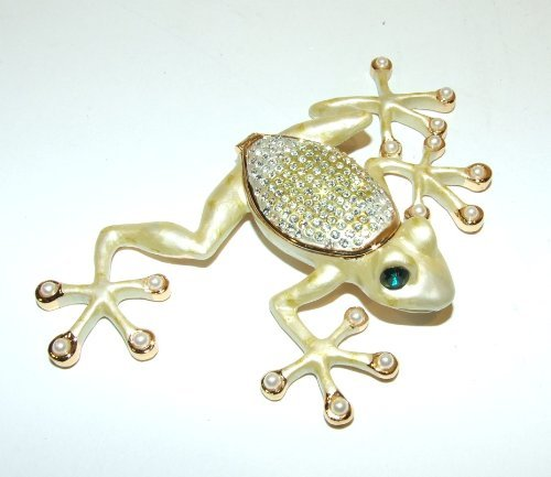 Frog Trinket Box Swarovski Crystals (Frog Enamel Hinged Bejeweled Trinket Box Swarovski Crystal)