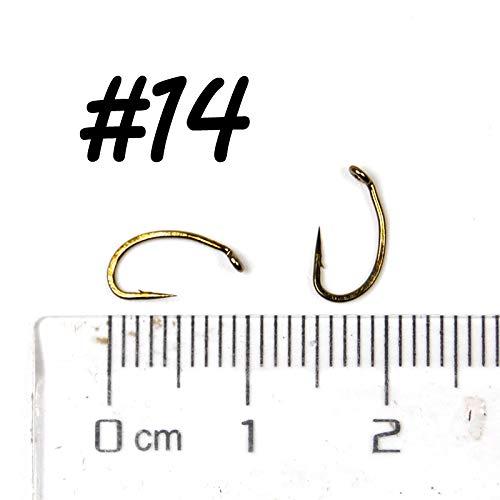 LILACORP Premium 25pcs Egg Caddis Offset Fly Tying Hook 2X Strong Sharp Nymph Hooks Fly Fishing Hook Size #10 12 14 16 18 Bronzed