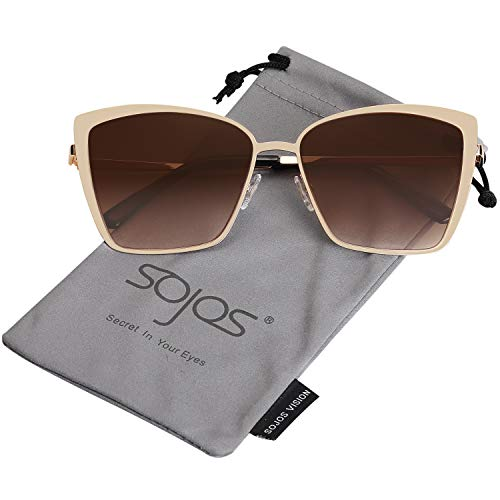 SOJOS Cateye Sunglasses for Women Fashion Mirrored Lens Metal Frame SJ1086 with Gold Frame/Gradient Brown Lens