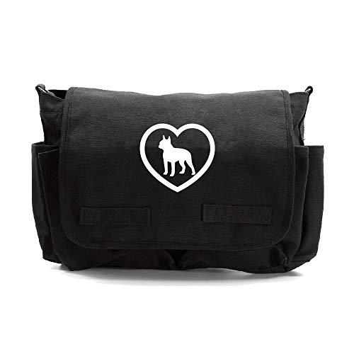 Boston Terrier Heavyweight Canvas Messenger Shoulder Bag in Black (Boston Bag Messenger)