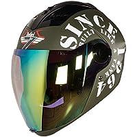 Steelbird SBA-2 TANK with Night Vision visor in Matt Finish (Medium 580MM, Battle Green/White)