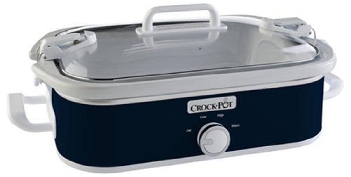 Crock-Pot SCCPCCM350-BL 3.5-Quart Casserole Crock Manual Slow Cooker, Navy Blue (Covered Buffet Casserole)