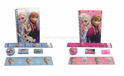 (Disney Frozen Princess Anna Elsa & Olaf Stationary Set for Kids (Two Sets) Pink and)