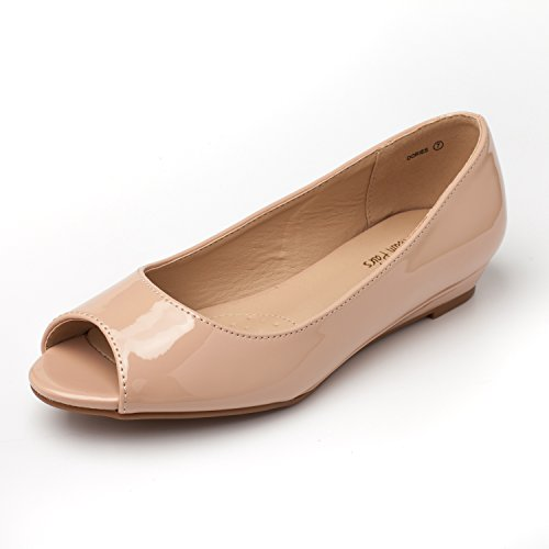 DREAM PAIRS Damen Damen Low Wedge Peep Toe Flats Schuhe Nackter Pat