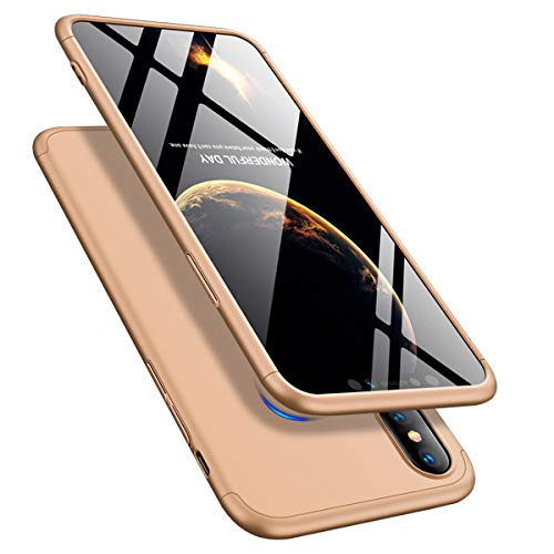 iPhone XS Max 6.5'' Case 360 Slim Shockproof Full Body Coverage Hard Protective Case + Tempered Glass Screen Protector (Gold, iPhone XS Max 6.5'')