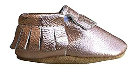 Lucky Love Baby Moccasins • Leather • Infant, Babies & Toddlers Shoes for Girls and Boys (18-24 months | size 6.5 US, Rose - Leather Baby Moccasins