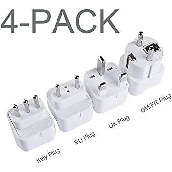 TESSAN Grounded Universal Travel Plug Adapter International Travel Plug USA  to UK/Italy/HK/GermanyFrance/ect PlugAdapter Set