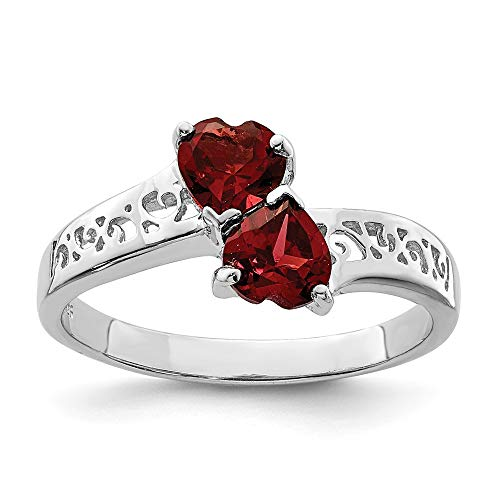 925 Sterling Silver Red Garnet Heart Band Ring Size 8.00 S/love Gemstone Fine Jewelry Gifts For Women For Her