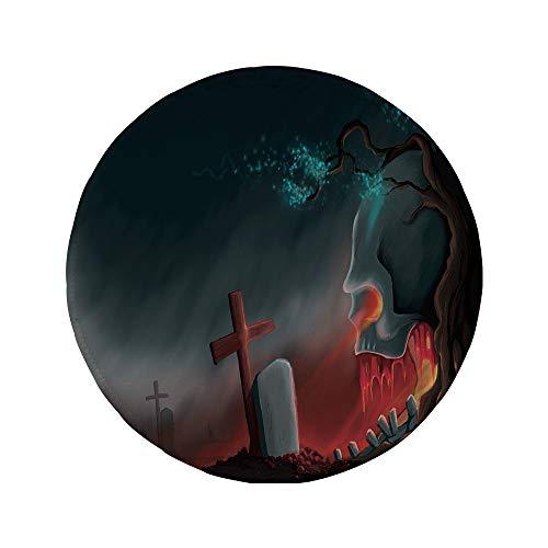 Non-Slip Rubber Round Mouse Pad,Halloween,Graveyard Cemetery Tree with Evil Skull Tomb Stone Cruciform Creepy Fantastic Decorative,Multicolor,11.8