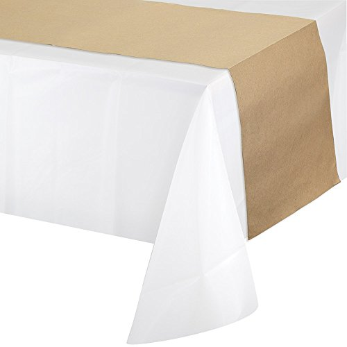 Creative Converting 317607 12-Count Plastic Table Runners, 14'' x 84'', Kraft Paper by Creative Converting