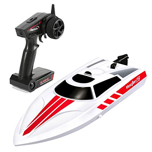 (FUNTECH Remote Control Boats 2.4GHz Radio Control Boat - High Speed 18 MPH (30 KM/H) Electric RC Boats for Pools&Lakes&Rivers - Best Gifts for Kids&Adults, Boys& Girls - White)