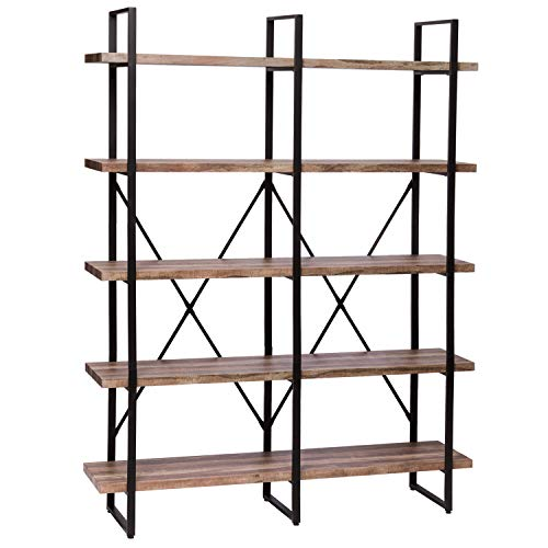 - IRONCK Bookshelf, Double Wide 5-Tier Open Bookcase Vintage Industrial Large Shelves, Wood and Metal Etagere Bookshelves, for Home Decor Display, Office Furniture