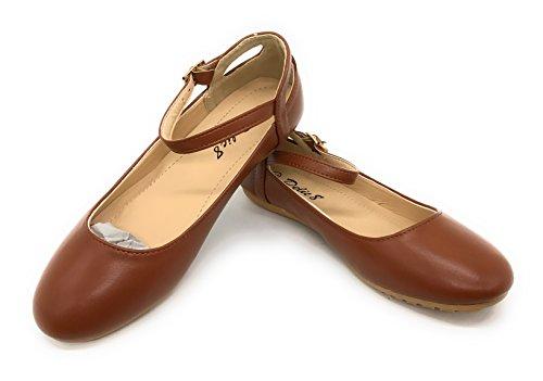 Blaue Berry EASY21 Frauen Casual Flats Ballett Knöchelriemen Mode Schuhe Braun T77