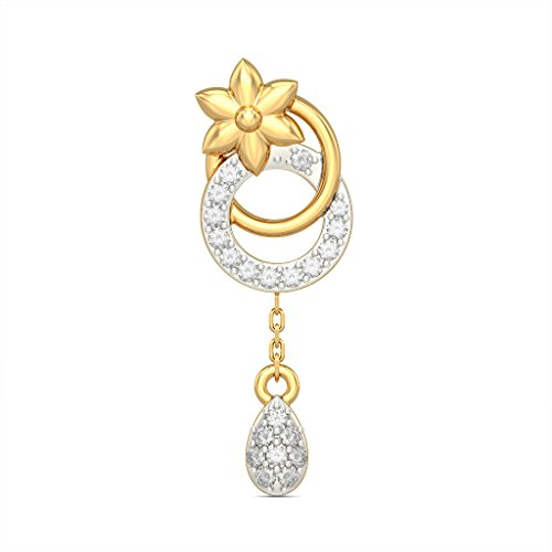 18 K Or jaune 0,21 CT TW White-diamond (IJ | SI) Pendants d'oreilles