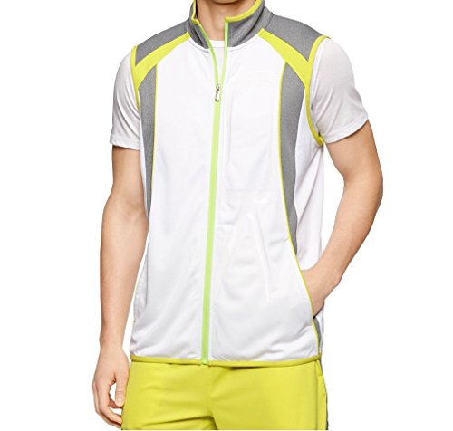Calvin Klein Men's Performance Color Block Track Vest, White, Large