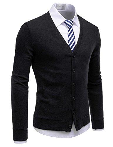 NEARKIN (NKNKCAC1) Mens Knitwear City Casual Slim Cut Long Sleeve Cardigan Sweaters BLACK US M(Tag size M) by NEARKIN