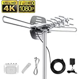 Vansky Outdoor Amplified HD TV Antenna 150 Mile Range, 360 Rotate Digital Antenna Support 2TVs Receive HD UHF/VHF Channel, Pre-assemble w/ High Performance 33ft Coaxial Cable(Antenna Pole Excluded)