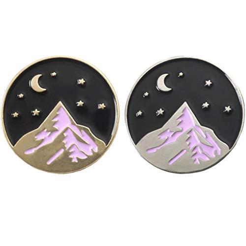 Charmart Mountain Moon Stars Hiker Lapel Pin 2 Piece Set Nature Adventure Travel Lover Enamel Brooch Pins Badge Gifts