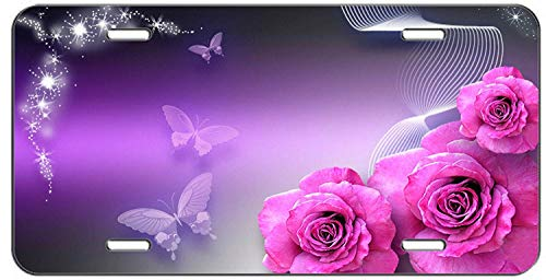 Auto CJX Pink Roses and Butterflies Front Metal Aluminum License Plate Vanity car tag Home Door Sign 6