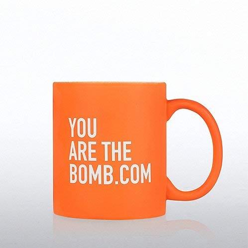 "Neon Orange Ceramic Quote Mug -""You Are The Bomb.com"" - Employee Recognition and Appreciation Coffee Mug Gift - 12oz"