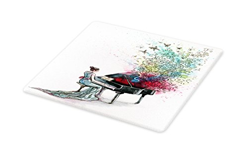 Lunarable Music Cutting Board, Grand Piano Music Musician with Butterflies Ornamental Pianist Swirls Vintage Style, Decorative Tempered Glass Cutting and Serving Board, Large Size, Multicolor
