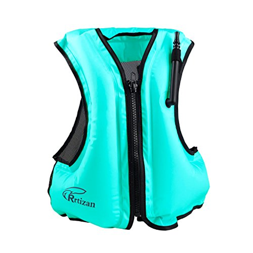 Rrtizan Adult Inflatable Swim Vest Life Jacket for Snorkeling,Suitable for 80-220lbs (Blue) ¡­