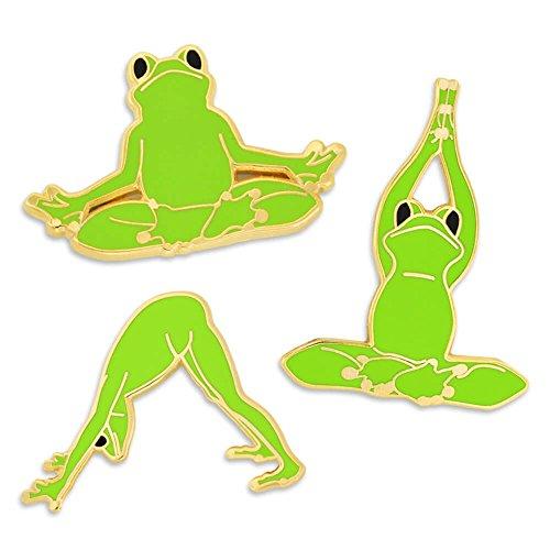 PinMart Bright Green Namaste Yoga Frogs Trendy Enamel Lapel Pin (Frog Pins)