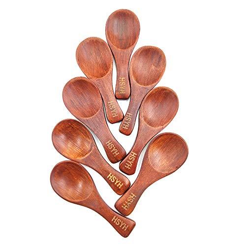 (8Pcs Small Wooden Salt Spoon Solid Wood Condiments Spoon Handmade Honey Teaspoon Seasoning Sugar Coffee Tea Jam Mustard Ice Cream Milk (Brown))
