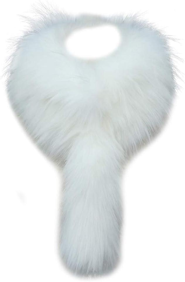 Asudaro Cuello de Piel Sintética Desmontable Abrigo de Piel de Zorro Cuello de Piel de Mapache Abrigo de Bufanda para Parka Chaqueta de Abrigo de ...
