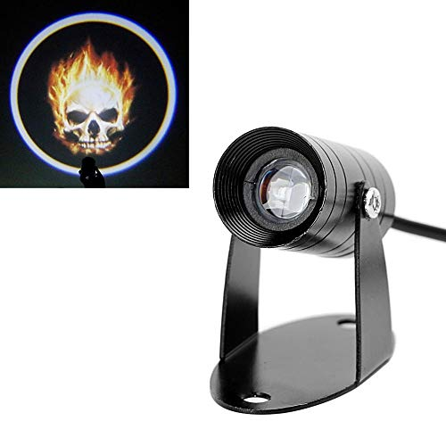 Jacana Boutique Skull Motorcycle Rear Waring Light Ghost Rider Flaming Fog Lamp Tail Lighting Moto Logo Laser Projector 3D LED Logo Light Refit