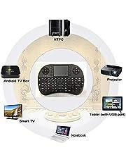عربي/انجليزي ري تك i8 لوحة مفاتيح صغيرة 2.4 جيجا هرتز لاسلكية مع فأرة باللمس للحاسوب والتابلت واكس بوكس وبلي ستايشن واندرويد تي في، اسود اللون