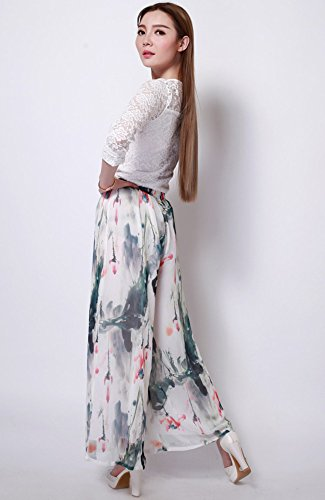 Medeshe–gasa floral Ancho Pierna Pantalones White Floral