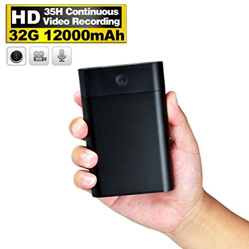 Small Spy Video Camera Full Hd Internal Memory 32Gb  Hidden Camera Power Bank 12 000Mah Capacity Battery For Home Outdoors Security Surveillance