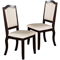 Poundex Creamy Upholstered Espresso Frame Dining Chairs, Set of 2