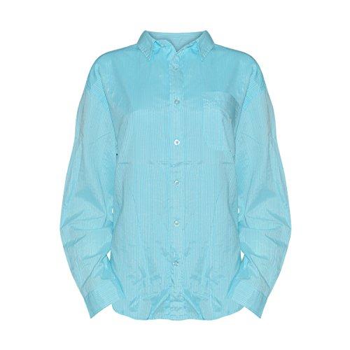 Fresh Produce Women's Cabin Stripe Button Down Long Sleeve Shirt with Pocket (Delray Ocean, M) ()