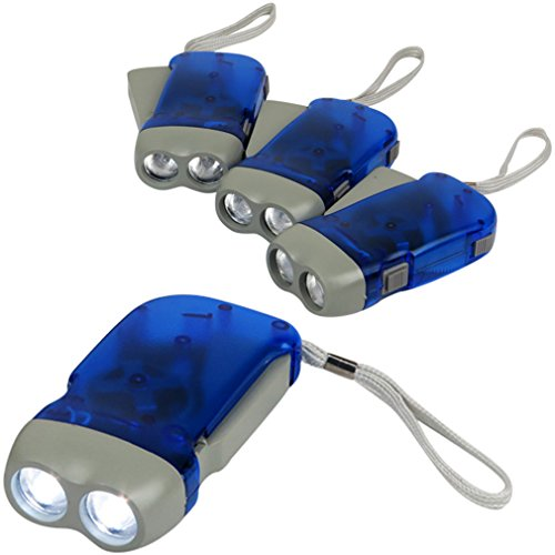 Evelots Hand Crank Flashlight for Camping Home or Car- White LED Light, Set of 4