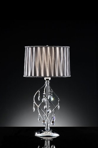 31'' H Lady Crystal with Diagonal Stripe Shade on Chrome Finish Table Lamp by HP