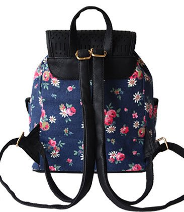 Donalworld School Canvas Flowerblue Bookbag Satchel Rucksach Backpack Women 8qHrRx8T