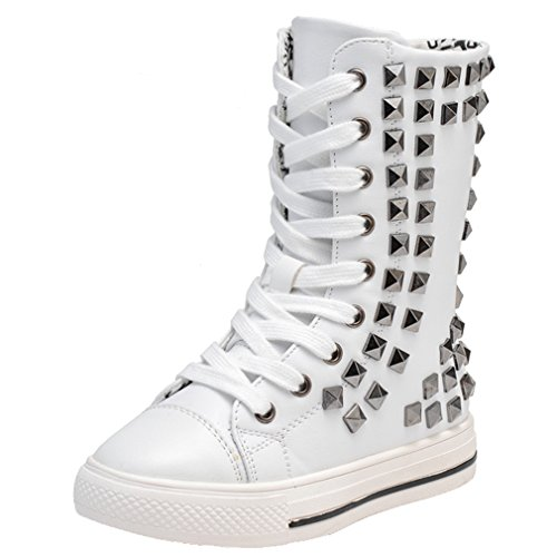 Skate Fashion Punk Pointss Sneaker Sneaker Shoe Tall Boots up Boots Walking Stylish Girls Lace Zip Shoe Flat White High Hqqnw7zE