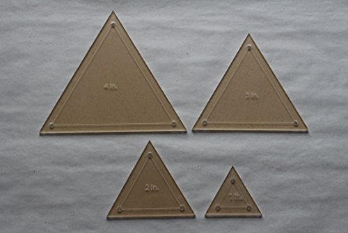 Triangle Quilting Template Set, 4'', 3'', 2'', 1'' with 1/4'' Seam Allowance by LaserThing
